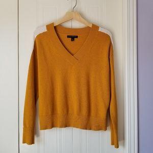 V-neck striped sleeve sweater